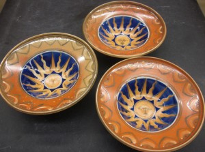 "3 stew plates with sun in splendor; approximately 9"" diameter.   This design can be painted on tankards (6.5-7.5"" tall), dinner plates (9 – 10"" diameter), stew plates (8.5-9.5"" d.), various sizes of lidded jars, also sometimes a teapot."