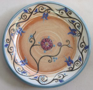 Dinner plate with Iznik inspired floral decoration.