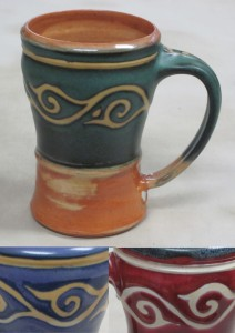 Green and gold scroll mug with purple/gold, and red/black color samples below.