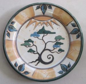 dinner plate with summer tree and leaf border