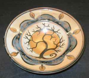 dinner plate with winter tree & moon center and snowflake & yellow leaf border